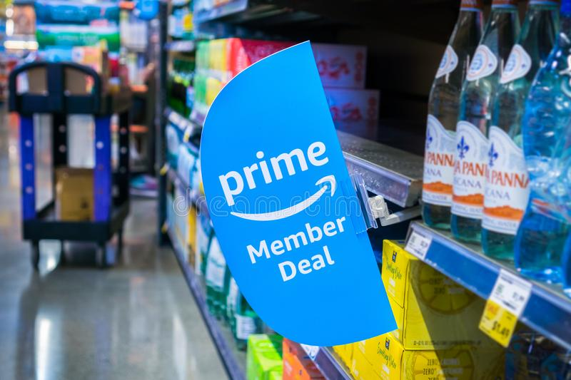 Prime Member Deal sign in a Whole Foods store. June 4, 2018 Santa Clara / CA / USA - Amazon launches offers for Prime members in the Whole Foods stores stock photos