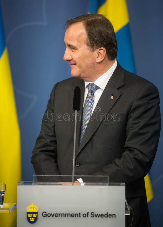Prime Minister of the Kingdom of Sweden Stefan Lofven. STOCKHOLM, SWEDEN - Nov 14, 2016: Prime Minister of the Kingdom of Sweden Stefan Lofven at the joint press royalty free stock photo