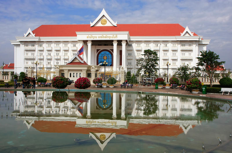 Prime Minister Office building, Vientiane, Laos. Southeast Asia royalty free stock photo