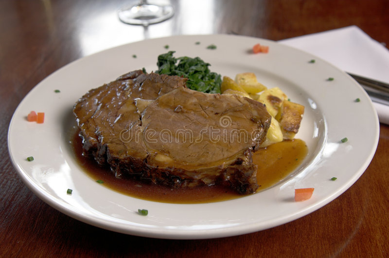 Prime Rib and Spinach stock images