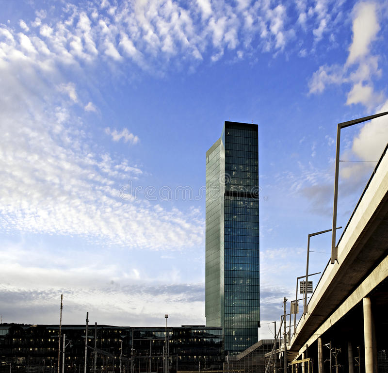 Prime Tower Skyscraper Zurich In Blue Sky And Clouds Stock Photo