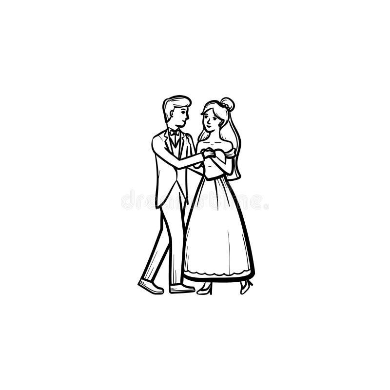Primeira ícone tirado do esboço da dança do casamento mão ilustração royalty free