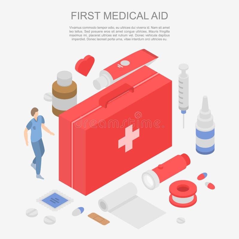 Primeira bandeira do conceito da ajuda médica, estilo isométrico ilustração do vetor