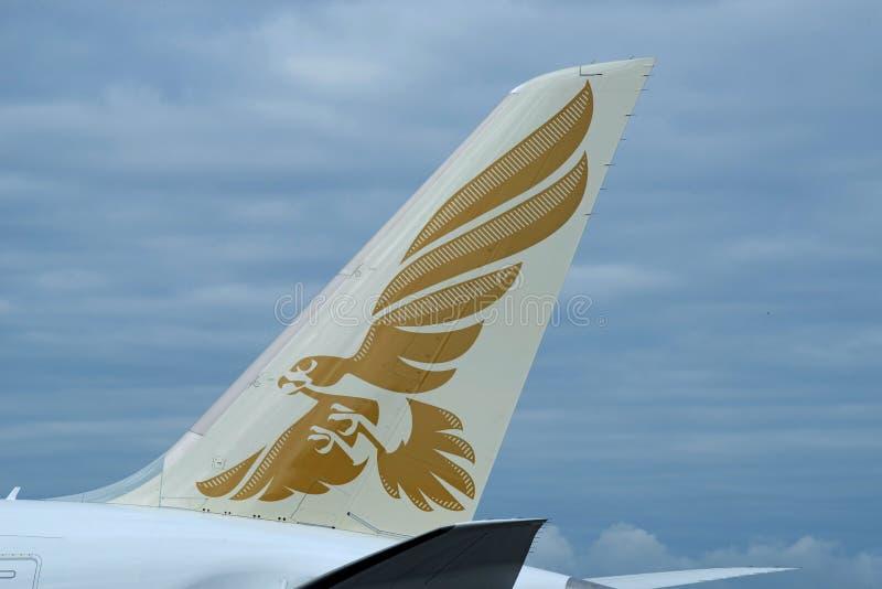 Primeira Boeing 787-9 cauda de Gulf Air que caracteriza o logotipo foto de stock royalty free