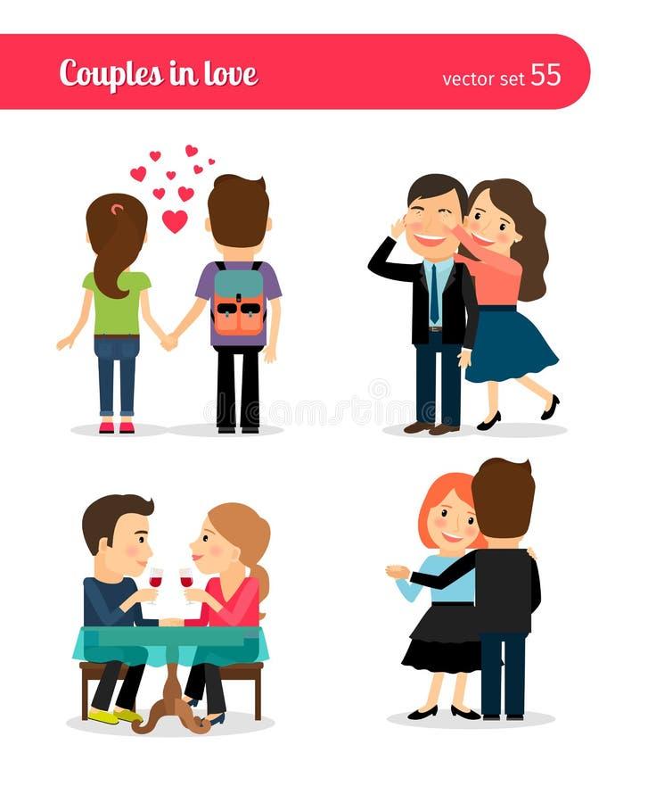 Primeira data de pares felizes ilustração royalty free