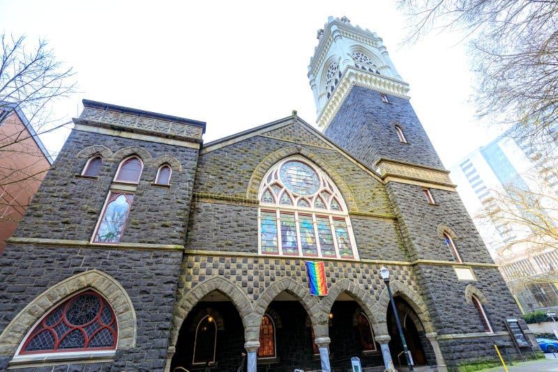 Primeira igreja de Cristo unida congregacional em Portlan do centro fotos de stock royalty free