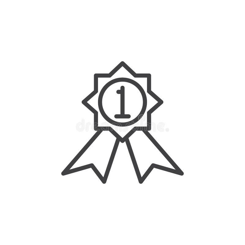 Primeira linha ícone da medalha do lugar, sinal do vetor do esboço ilustração stock