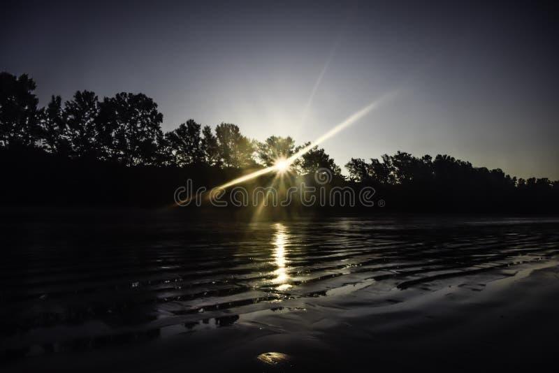 A primeira luz do dia - a luz do sol brilha através das árvores na manhã na praia fotos de stock