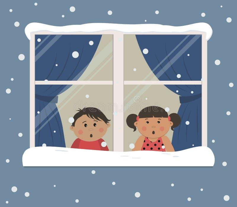 Primeira neve As crianças olham a neve através da janela ilustração do vetor