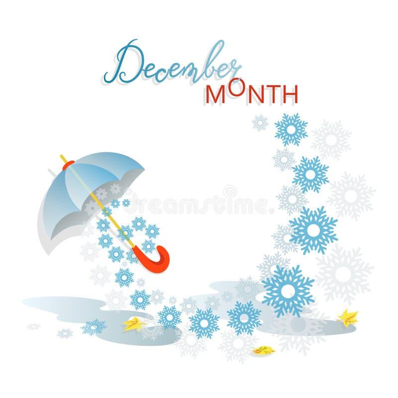 Primeira neve dezembro é um mês ilustração stock