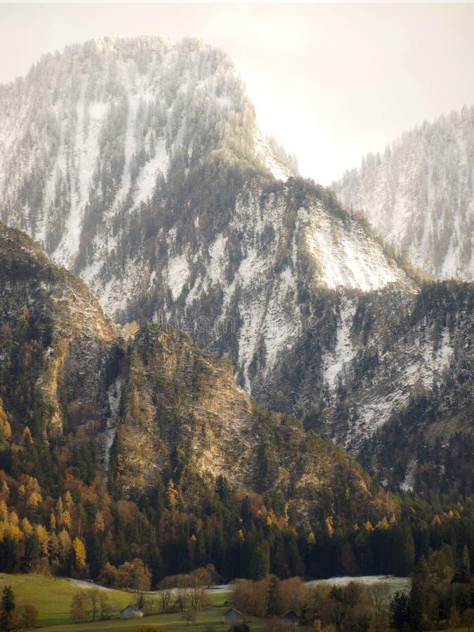 Primeira neve em montanhas de Landquart em Suíça. fotos de stock royalty free