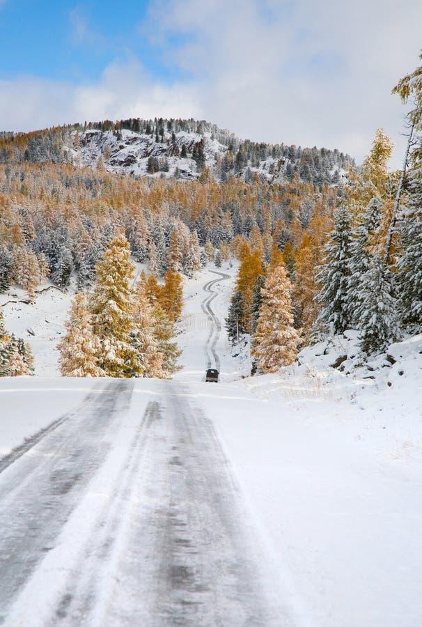 Primeira neve em uma passagem de montanha imagem de stock