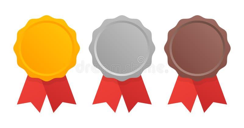 Primeiramente, segundo e terceiro lugar As medalhas da concessão ajustaram-se isolado no branco com fitas Ilustração do vetor ilustração royalty free