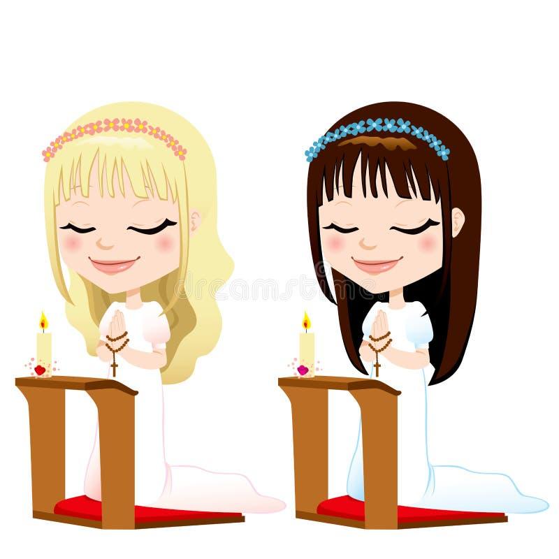 Primeiras meninas da oração do comunhão ilustração do vetor