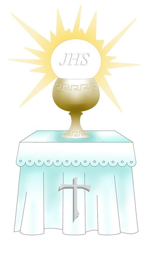 Primeiro altar santamente do comunion ilustração do vetor