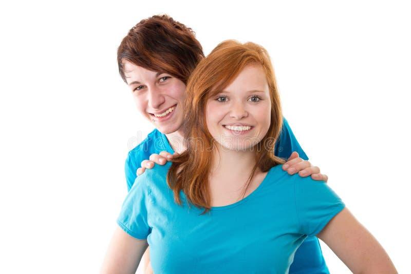 Primeiro amor - par novo isolado no branco fotografia de stock royalty free