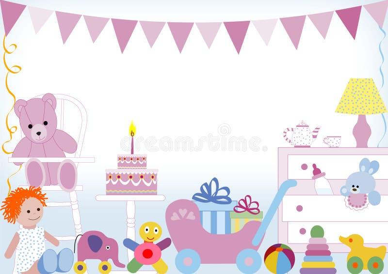 Primeiro aniversário ilustração royalty free
