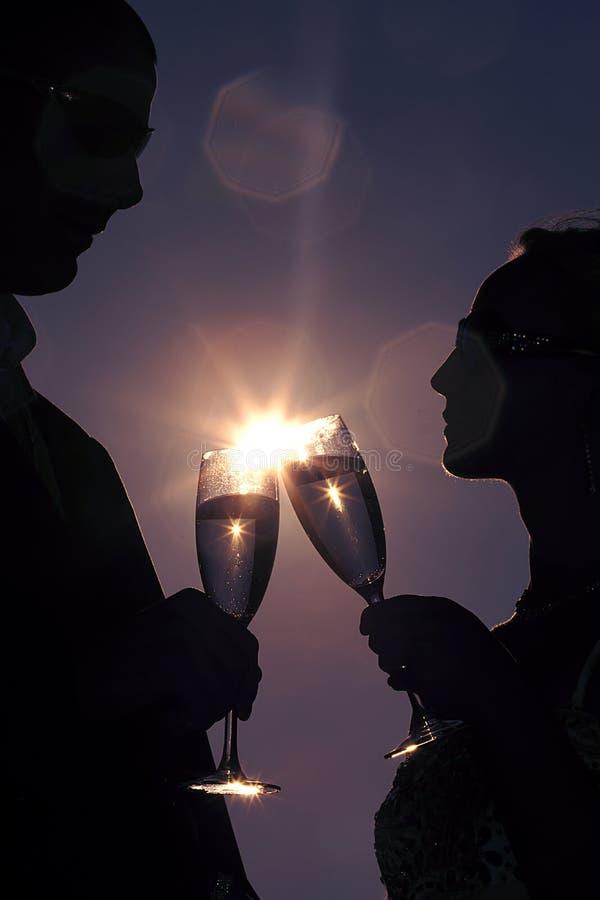 Primeiro brinde do casamento imagens de stock royalty free