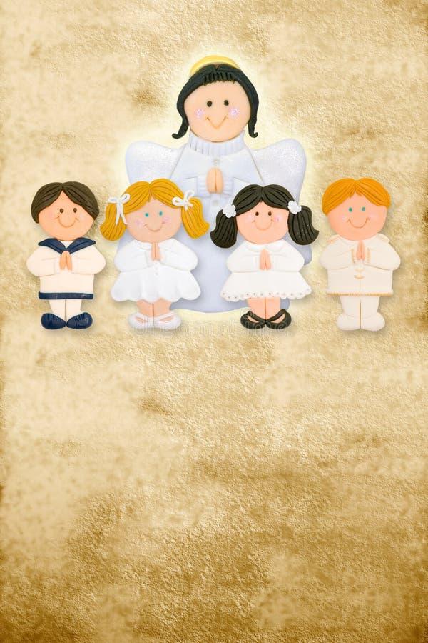 Primeiro cartão do comunhão, anjo com crianças ilustração stock