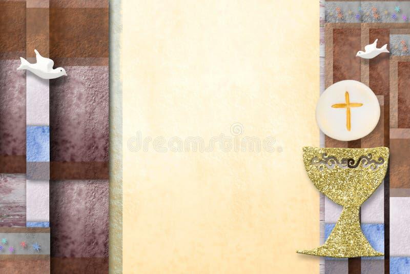 Primeiro cartão do convite do comunhão santamente ilustração royalty free
