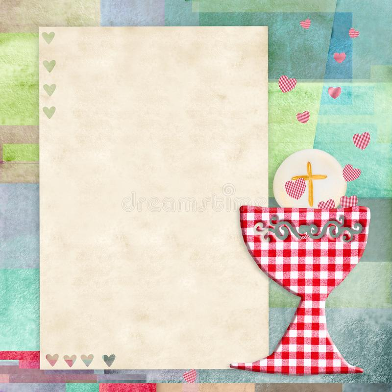 Primeiro cartão do convite do comunhão santamente ilustração do vetor