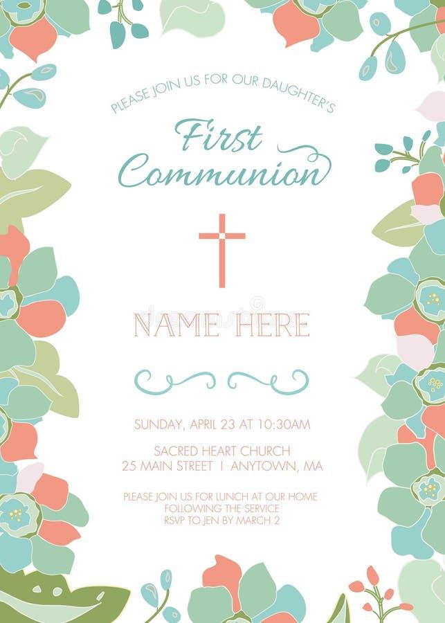 Primeiro comunhão, batismo, batizando o molde do convite com beira floral ilustração royalty free