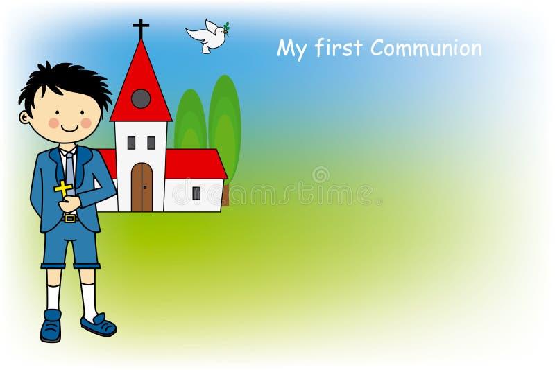 Primeiro comunhão do menino ilustração royalty free