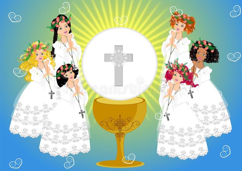 Primeiro comunhão santamente ilustração royalty free