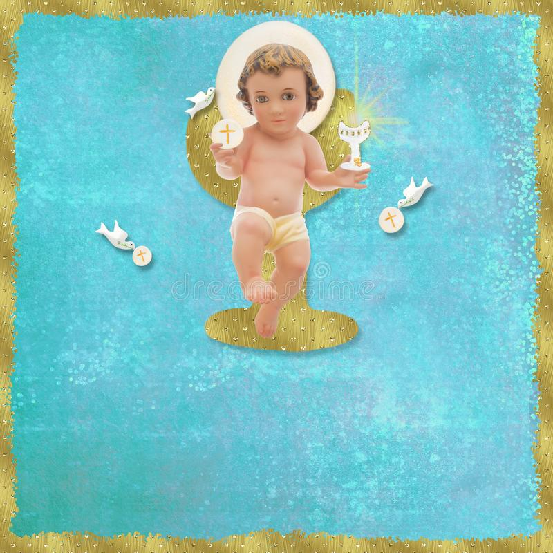 Primeiro comunhão santamente, bebê Jesus ilustração do vetor