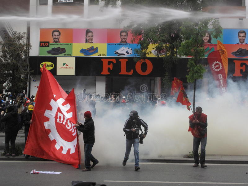 Primeiro de maio em Istambul, Turquia. imagem de stock