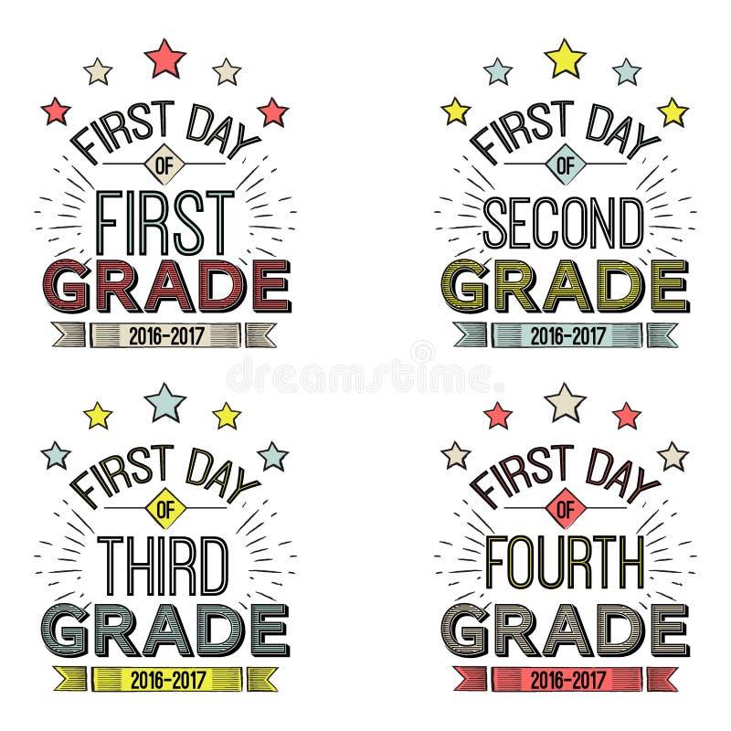 Primeiro dia de sinais da escola ilustração royalty free