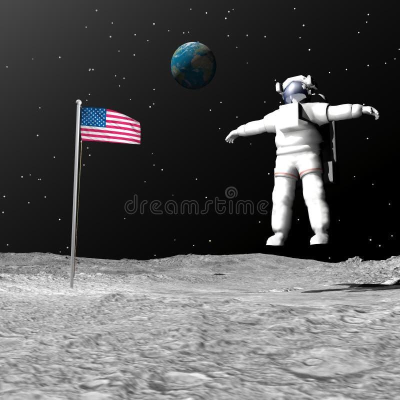 Primeiro homem na lua - 3D rendem ilustração royalty free