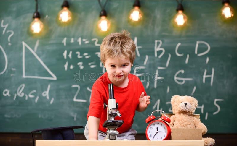 Primeiro interessado anterior no estudo, aprendendo, educação Caçoe o menino perto do microscópio na sala de aula, quadro no fund imagem de stock