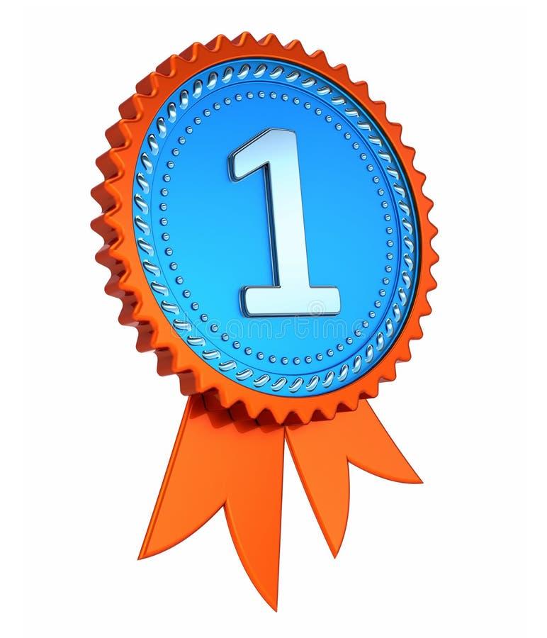 primeiro primeiro lugar número um 1 fita azul alaranjada da concessão da medalha ilustração stock