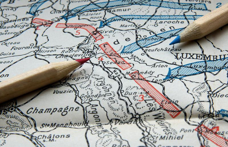 Primeiro mapa da guerra mundial imagens de stock