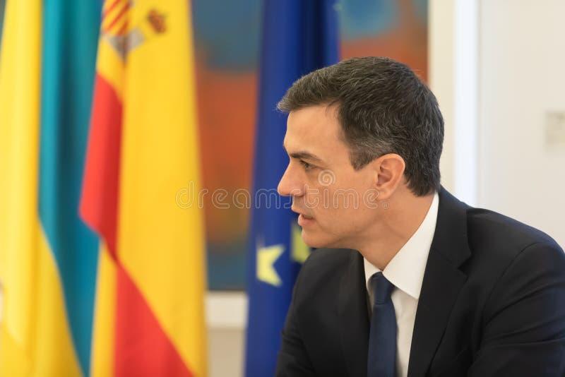 Primeiro ministro da Espanha Pedro Sanchez imagem de stock