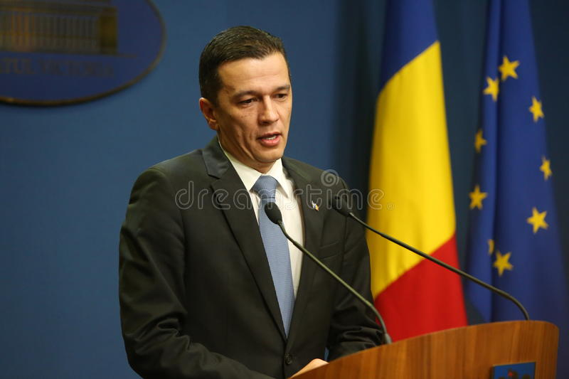 Primeiro ministro romeno Sorin Grindeanu imagem de stock