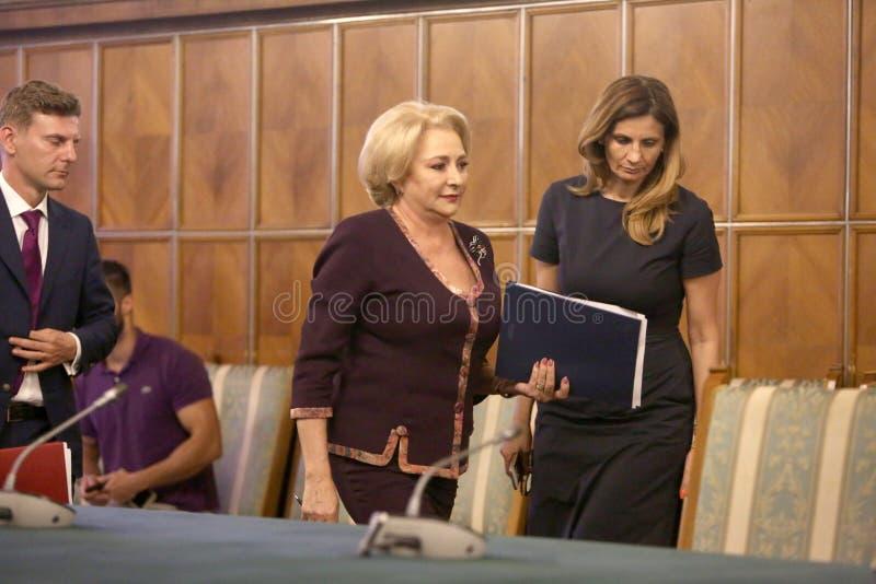 Primeiro ministro romeno Viorica Dancila foto de stock