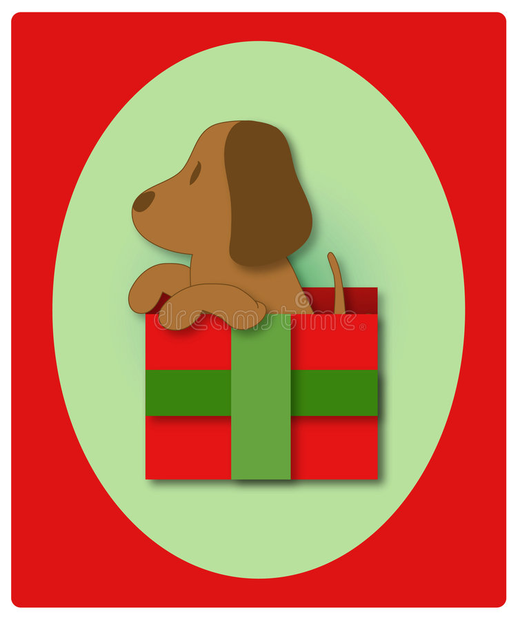 Primeiro Natal do filhote de cachorro ilustração stock