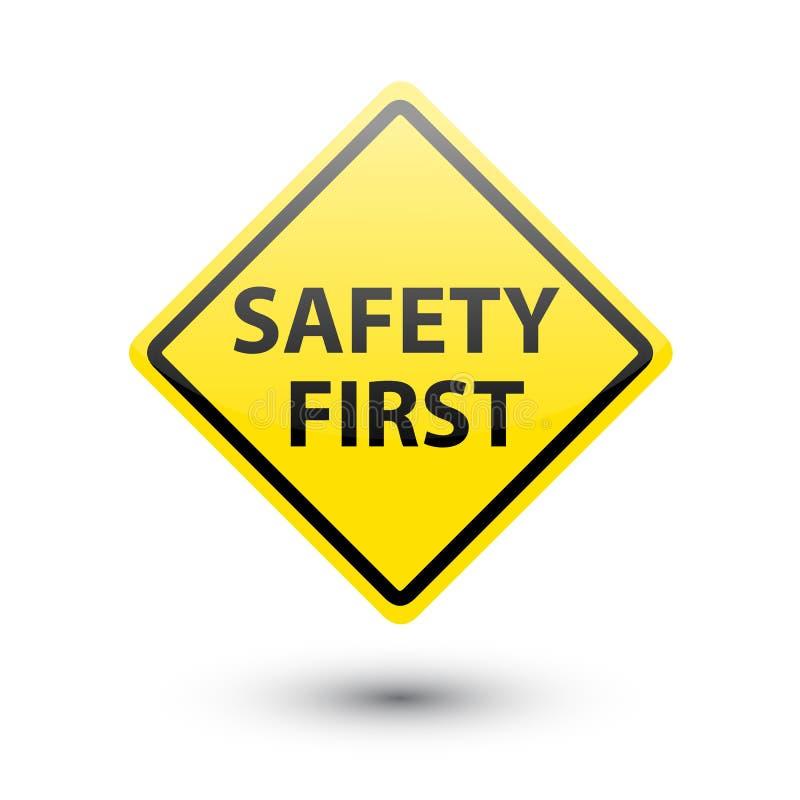Primeiro sinal amarelo da segurança ilustração do vetor