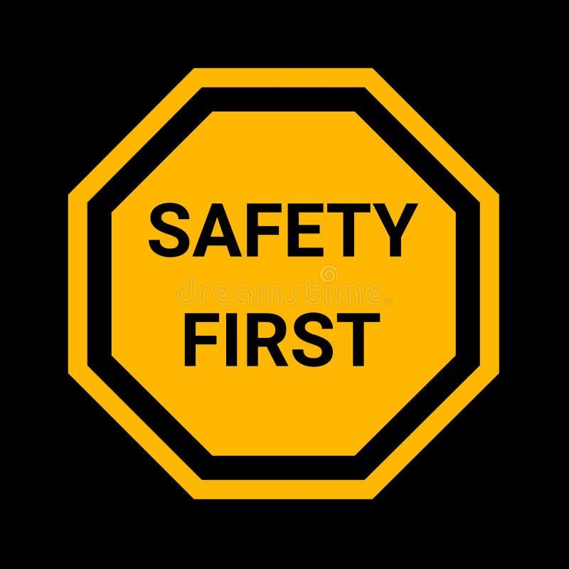Primeiro sinal da segurança ilustração do vetor