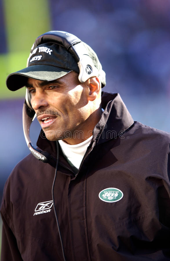 Primeiro treinador anterior de Edwards New York Jets do Herm foto de stock