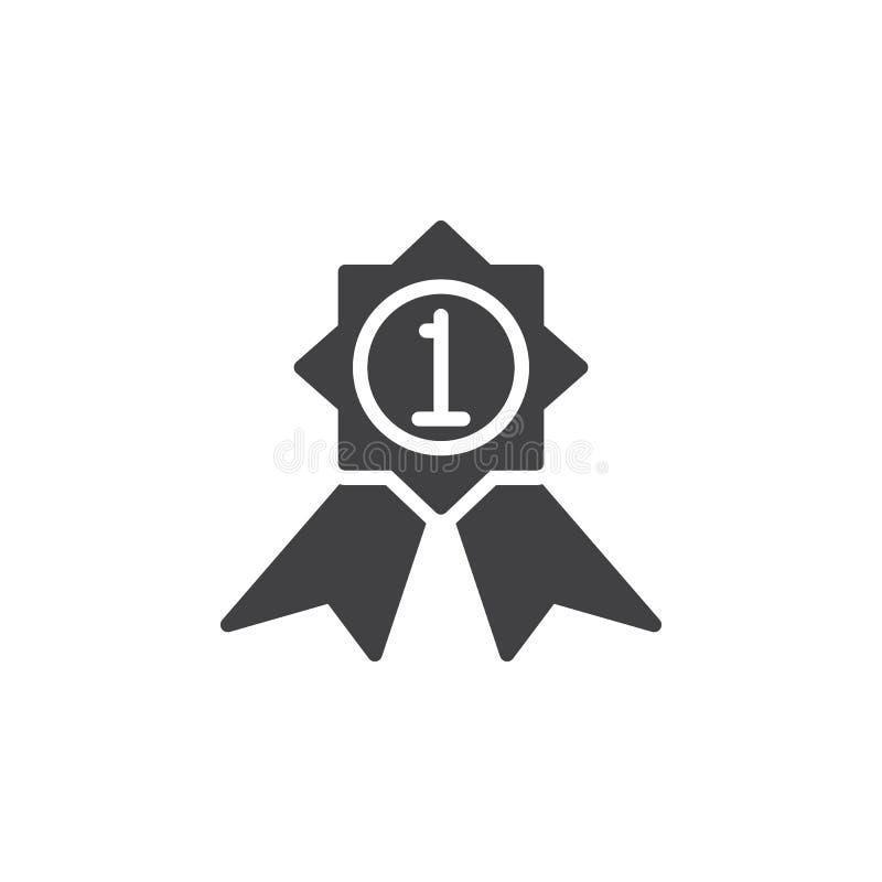 Primeiro vetor do ícone da medalha do lugar, sinal liso enchido ilustração do vetor
