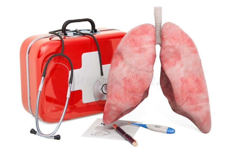 Primeiros ajuda médica e tratamento do conceito dos pulmões, rendição 3D ilustração royalty free