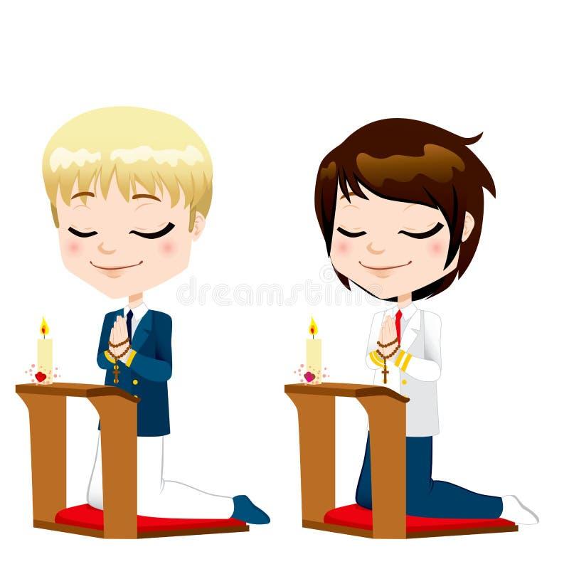 Primeiros meninos da oração do comunhão ilustração do vetor
