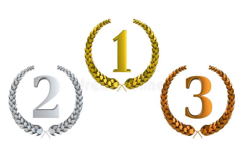 Primeiros segundos e terceiros louros 3d premiados ilustração stock