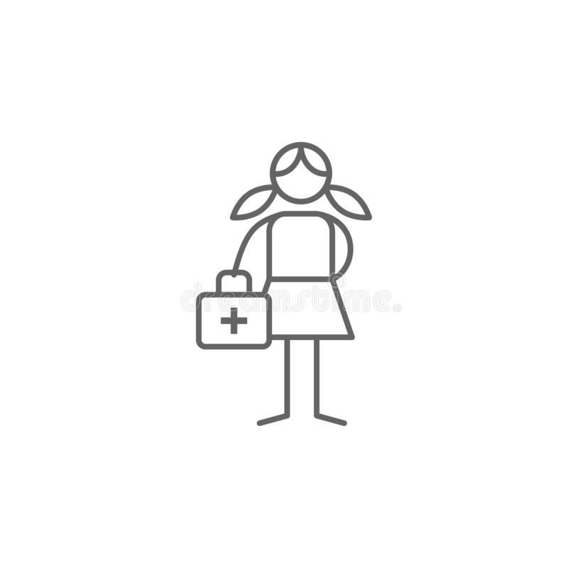 Primeiros socorros, ajuda, ícone da aventura Elemento do ?cone da aventura Linha fina ?cone para o projeto do Web site e o desenv ilustração stock