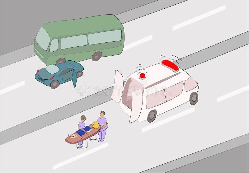 Primeiros socorros no acidente de tráfico ilustração royalty free