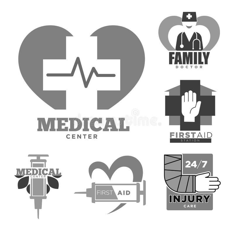 Primeiros socorros ou centro médico do cuidado de ferimento e ícones isolados médico de família ilustração royalty free