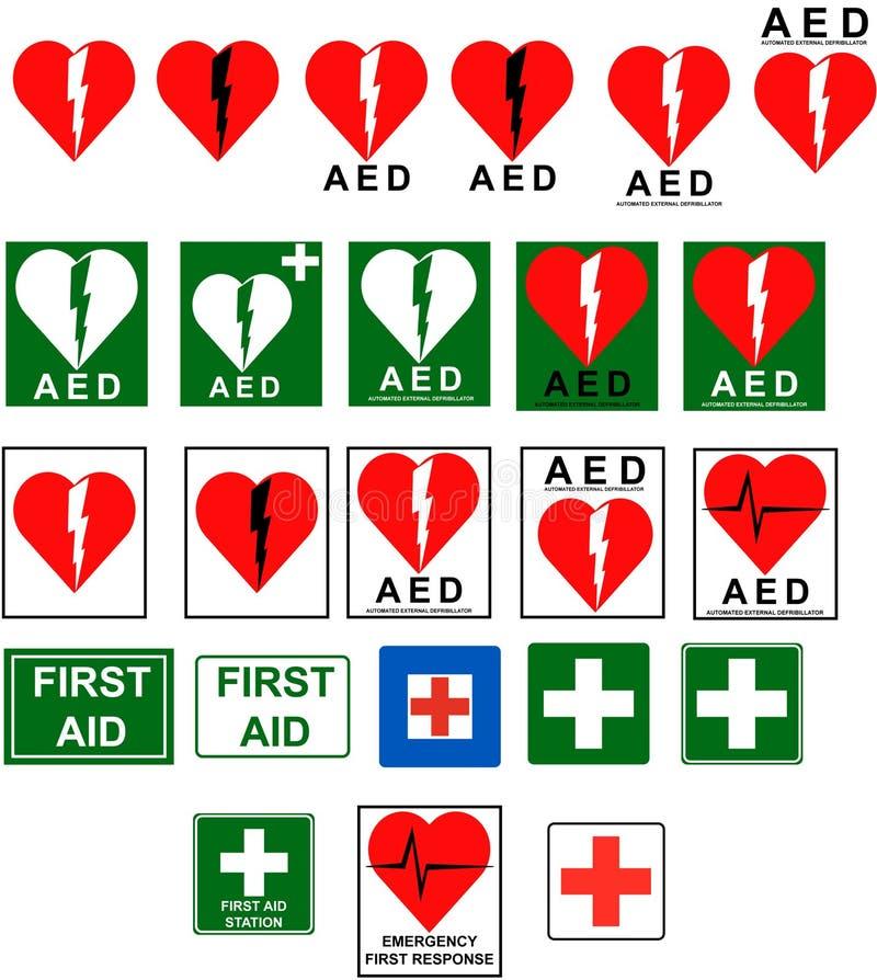 Primeiros socorros - sinais do AED ilustração do vetor